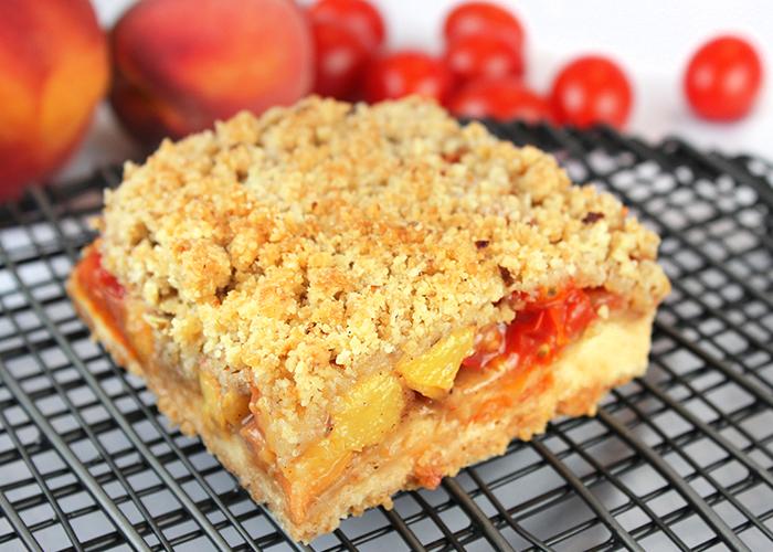 Tomato Peach Crumble Squares