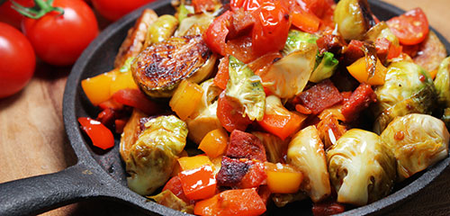 Brussels Sprouts with Tomato & Peppers