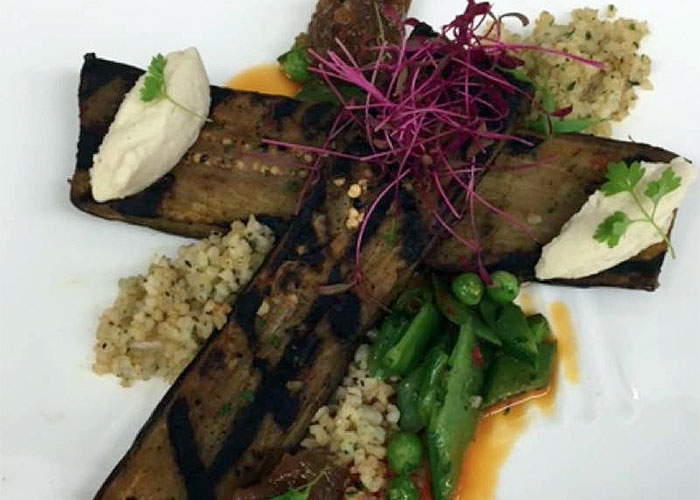 Grilled Charmoula Marinated Eggplant with Bulger, Golden Raisin Jam & Almond Mousse