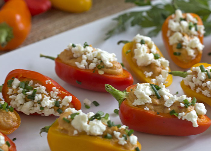 hummus and feta sweet peppers
