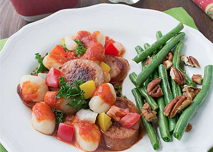 Kielbasa Gnocchi & Nutty Green Beans