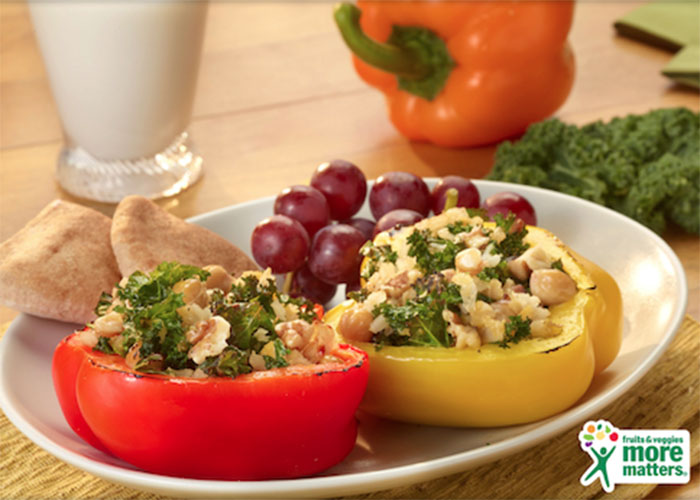 Rainbow Bell Pepper Boats with Garbonzo Beans