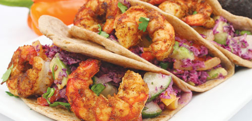 Shrimp Tacos with Red Cabbage Pepper Salad