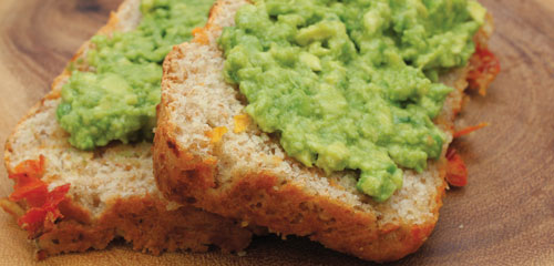 Tomato Cheddar Bread with Avocado