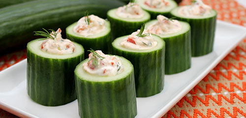 Roasted Red Pepper Cucumber Shots
