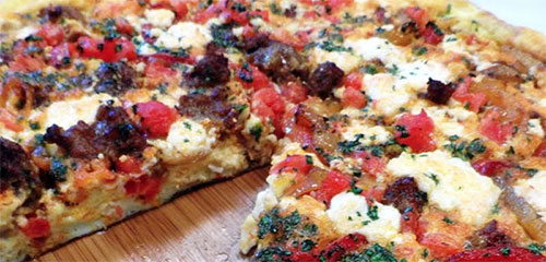 Roasted Sweet Bell Pepper & Chorizo Frittata with Queso Fesco